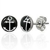 Urban Male White Anchor on Black Stud Earrings 7mm