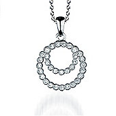 The REAL Effect Rhodium Coated Sterling Silver Cubic Zirconia Double Circle Pendant Pendant
