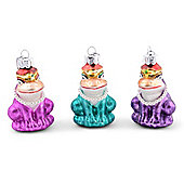 Set of Three Metallic Frog Queen Christmas Tree Decorations