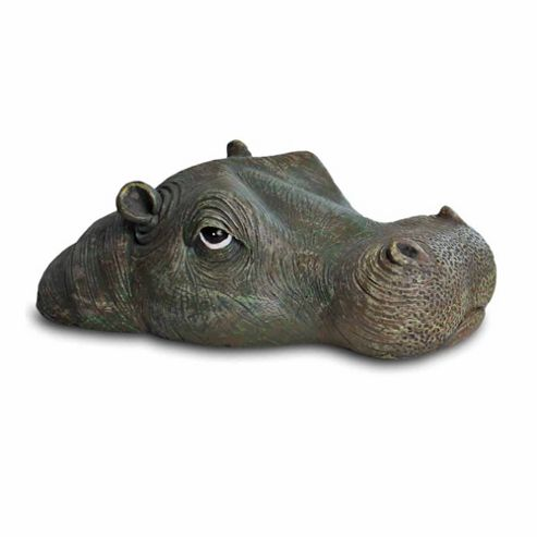 Floating Detailed Resin Hippo Head Pond Feature Ornament