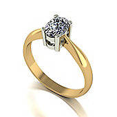 18ct Gold 7x5 Oval Moissanite Single Stone Ring.