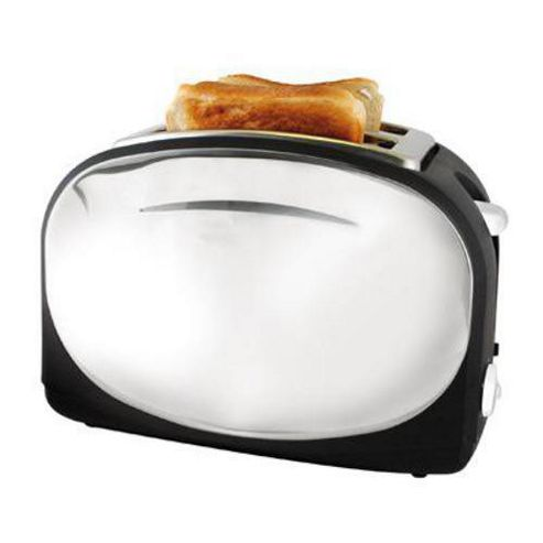 Lloytron E2013BK Wide Slot 2 Slice 1050w Polished Steel Panel Toaster - Black
