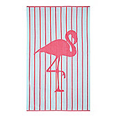 Linea Flamingo Stripe Beach Towel