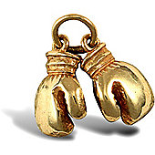 Jewelco London 9ct Solid Gold casted light weight pair of Boxing Gloves Pendant