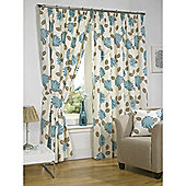 Morocco Lined Pencil Pleat Teal Curtains - 66x54 Inches