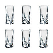 Pack of 6 Quadro Deluxe Bohemian Crystal 50ml Tall Shot Glasses Contemporary Twisted Shaped Design