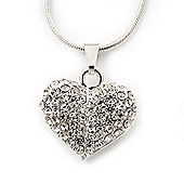 Small Clear Crystal Puffed 'Heart' Pendant Necklace In Rhodium Plated Metal - 40cm Length & 4cm Extension