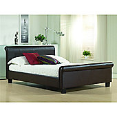 Brown Round Sleigh Style Faux Leather Bed Frame - Double 4ft 6""