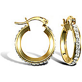 Ladies 9ct Yellow Gold White Round Crystal Eternity 3mm Hoop Earrings 16mm