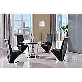 Naples Round Glass & Polished 130cm Dining table with 4 Black Rita Chairs
