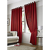 Contemporary Dot Pattern Lined Eyelet Curtains - Red