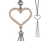 Jewelco London Sterling Silver two colour Heart Necklace - Ladies