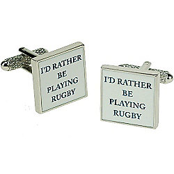 I'd Rather Be Playing Rugby Novelty Themed Cufflinks