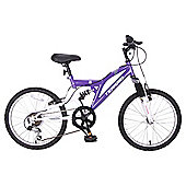 "Terrain Freemont 20"" Dual Suspension Girls 14"" Purple Mountain Bike"
