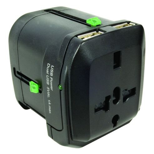Worldwide Travel Adaptor with Twin USB Charger