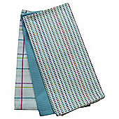 Tesco Bright Dobby Stripe Tea Towel 3 Pack