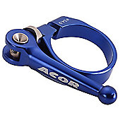 Acor CNC Alloy Q/R Seat Post Clamp: Blue 31.8mm.