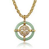 Gemondo Gold Plated Sterling Silver 8.23ct Jade & 2pt Diamond 'Auspicious' Pendant on 45cm Chain