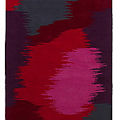 Think Rugs Hong Kong Grey/Red Tufted Rug - 80 cm x 150 cm (2 ft 7 in x 4 ft 11 in)