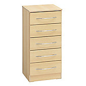 Ideal Furniture Alaska 5 Drawer Tall Chest - Oak