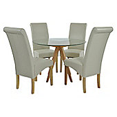 Atlantico Circle Glass Dining Table Set with 4 Cream Chelsea Chairs