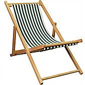 Harbour Housewares Garden Deck Chair - 3 Positions - Green / White Stripe
