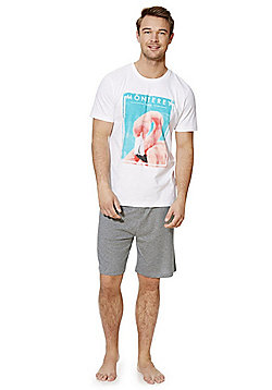 F&F Flamingo Jersey Shorts Loungewear Set - Multi