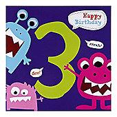 Monster Boys 3rd Birthday Card