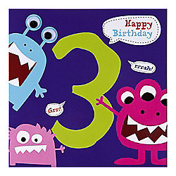 Monster Boys 3rd Birthday Card