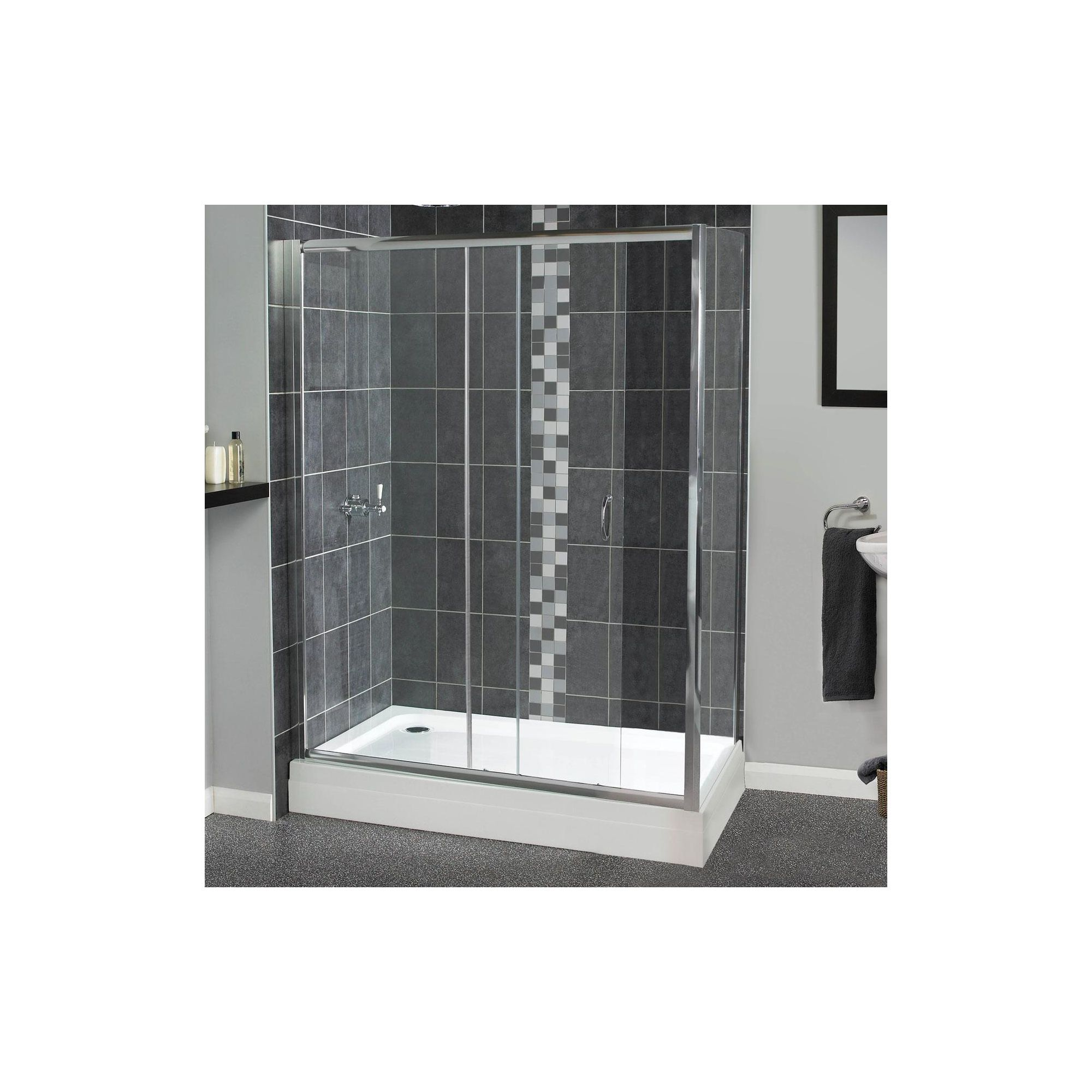 Aqualux Shine Sliding Shower Door, 1400mm Wide, Polished Silver Frame, 6mm Glass at Tescos Direct