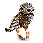 Stunning Vintage Pearl & Crystal Owl Ring (Antique Gold Tone)