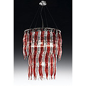 Metal Lux Arena Four Light Chandelier - Red White