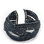 Boho Anthracite Grey Glass Bead Plaited Flex Cuff Bracelet - Adjustable