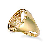 Jewelco London 9ct Solid Gold Half Sovereign Size coin mount Ring with polished shoulders