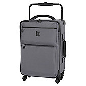 IT Luggage World's Lightest 4-Wheel Charcoal Check Small Suitcase