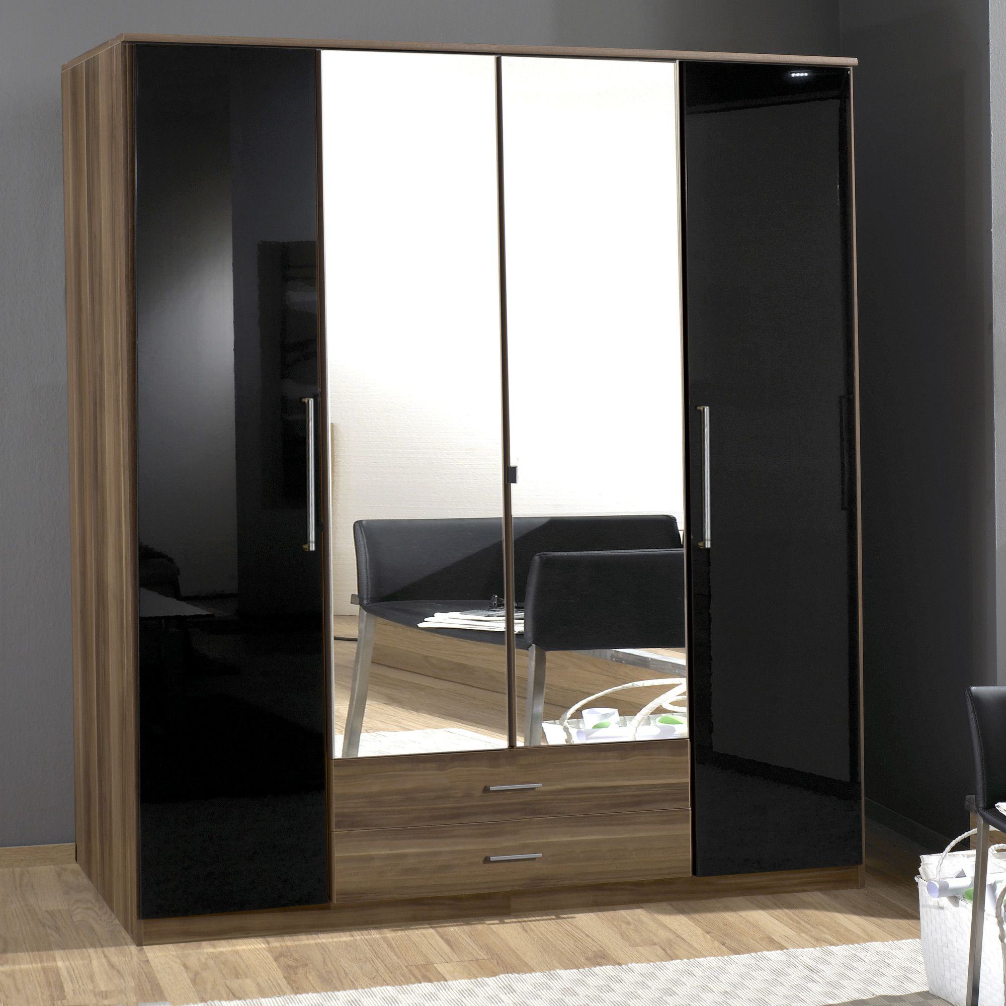 Amos Mann furniture Milano 4 Door 2 Drawer Wardrobe - Black and Walnut at Tesco Direct