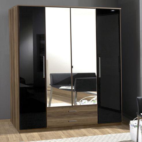 Amos Mann furniture Milano 4 Door 2 Drawer Wardrobe - Black and Walnut
