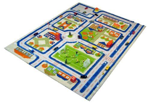 Little Helper 3D Playmat & Rug Town Design Blue 100X150Cm
