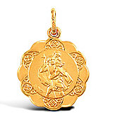 Jewelco London 9ct Yellow Gold light weight St Christopher Medallion pendant