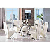 Channel Glass and Polished Stainless Steel 160 cm Dining Table with 4 Ivory Rita Chairs