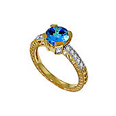 QP Jewellers Diamond & Blue Topaz Fantasy Ring in 14K Gold