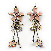 Vintage Inspired Pale Pink Enamel Floral Drop Earrings With Leverback Closure In Antique Gold Tone - 60mm Length