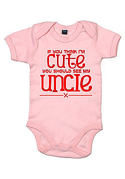 Dirty Fingers If you think I'm cute see my uncle Bodysuit - Pink
