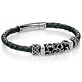 Mens Fred Bennett Black Leather Oxidised Bead Bracelet