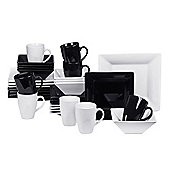 32 Piece Black and White Boston Square Dinner Set