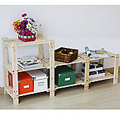 James - Solid Wood Three Tier Stepped Storage Shelves - Natural