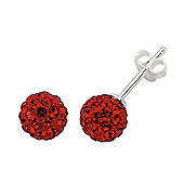 Jewelco London Rhodium-Coated Sterling Silver Red Crystal Shamballa Earrings