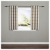 Galloway Check Lined Eyelet Curtains - Natural