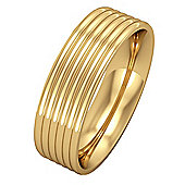 Jewelco London 9ct Yellow Gold - 6mm Essential Flat-Court Ribbed Band Commitment / Wedding Ring -