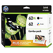 HP 62 Content Value Pack 2-pack Black/Tri-colour Original Ink Cartridges with Photo Paper + Envelopes